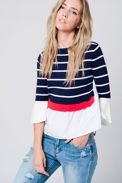 Navy stripe sweater with flared sleeves