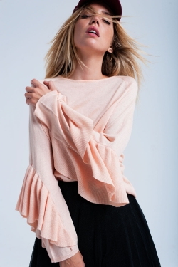 Pink sweater with frill detail sleeve