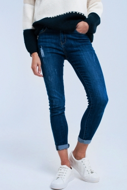 Super skinny jeans with worn and strass