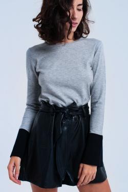 Grey sweater with black cuffs