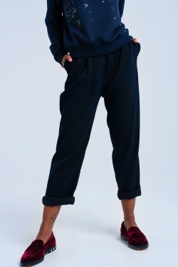Navy trousers with ruffles and laces
