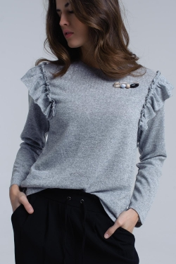 Grey sweater with ruffles and beads