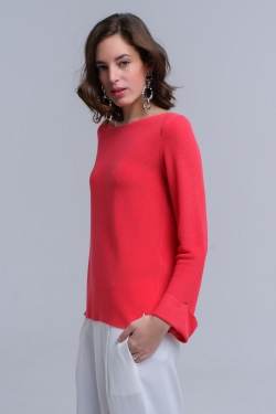 Coral ribbed sweater