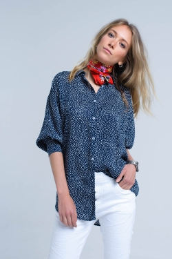 Navy blue longline shirt in polka dot