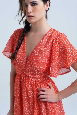 Coral short dress with leaf print
