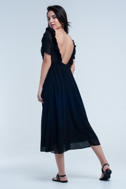 Black midi dress with embroidered polka dots