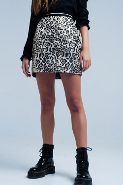 Brown Mini Skirt in Leopard Print