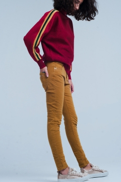 Mustard Skinny Pants with Sequins and Buttons