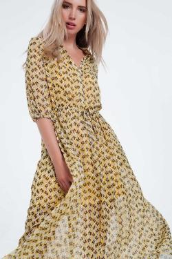 Yellow floral long sleeve maxi dress