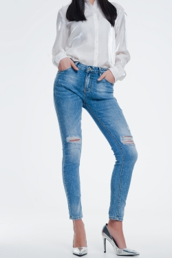 Jeans with wear detail on knee