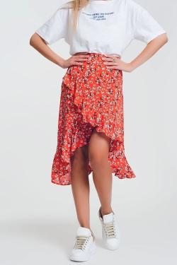asymetric wrap printed red skirt