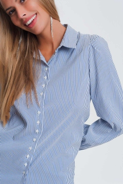 Volume sleeve shirt in blue stripe print