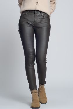 Faux leather skinny trousers in khaki colour