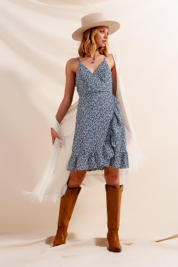 Ruffle wrap dress in blue floral print