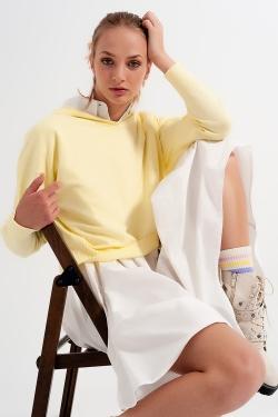 Yellow long sleeve hooded sweater